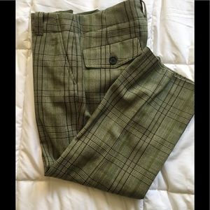 Plaid cropped Burberry wool trousers